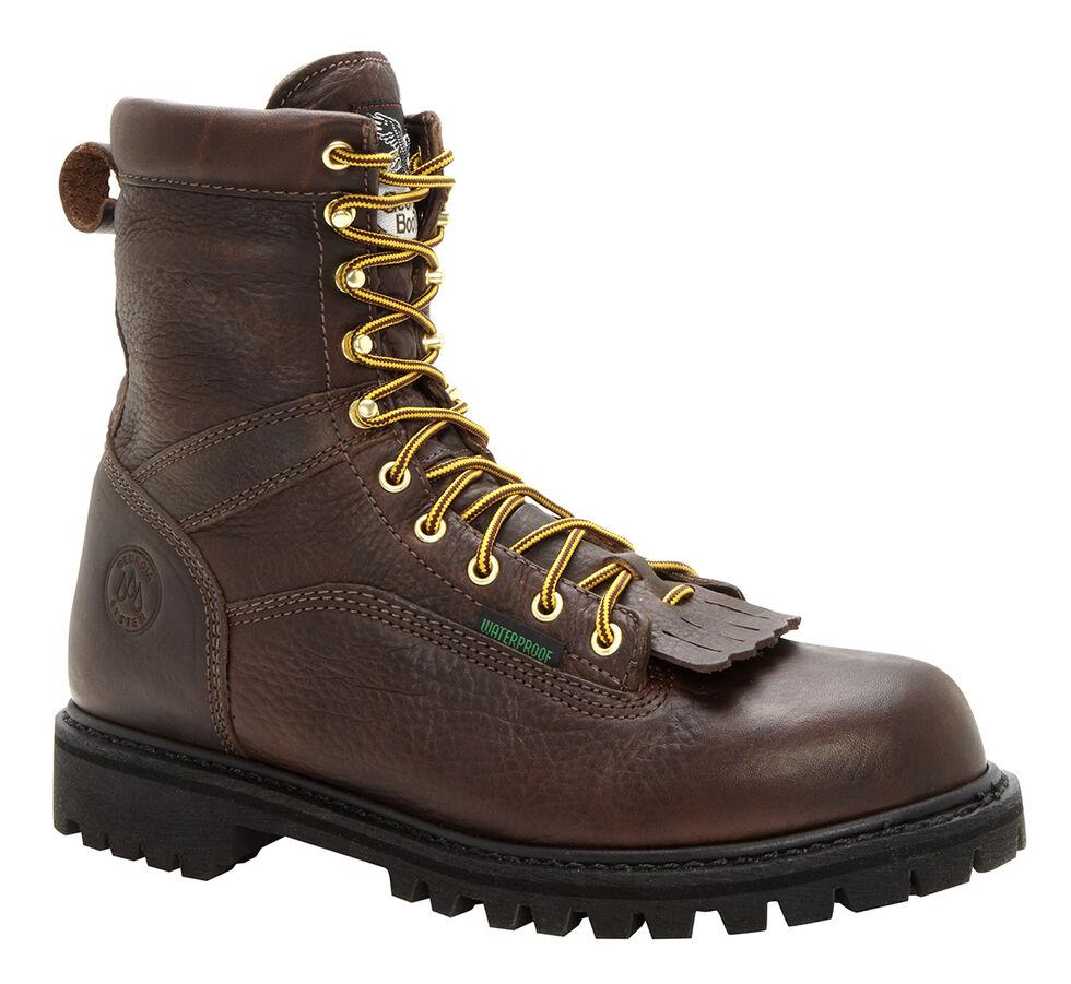 Georgia Waterproof Low Heel Logger Work Boots - Steel Toe, Chocolate, hi-res