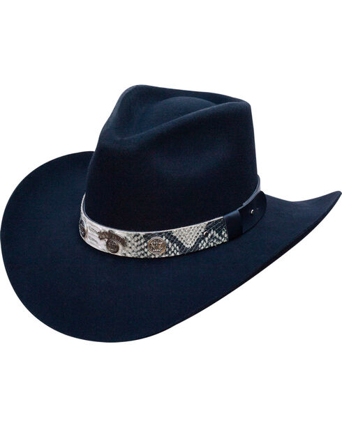Jack Daniels Men's Structured Wool Snake Print Band Hat , Black, hi-res