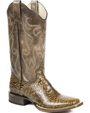 Roper Vintage Tan Faux Hand Tooled Cowgirl Boots - Square Toe, Tan, hi-res