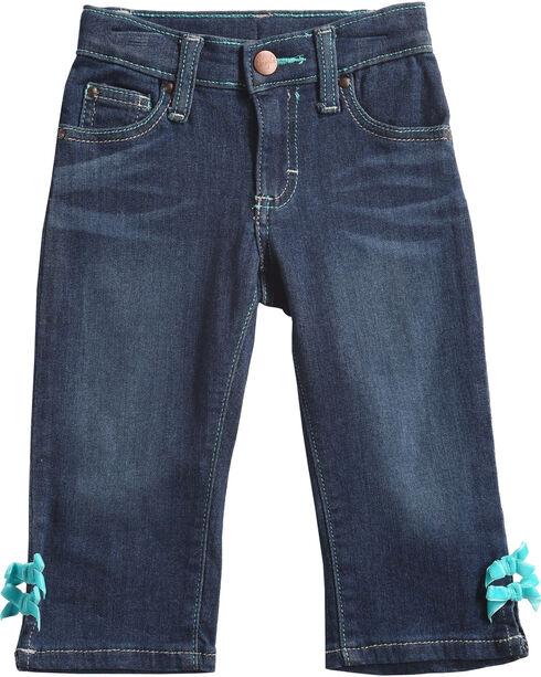 Wrangler Infant/Toddler Girls' Indigo Horseshoe Pocket Jeans - Straight Leg , , hi-res