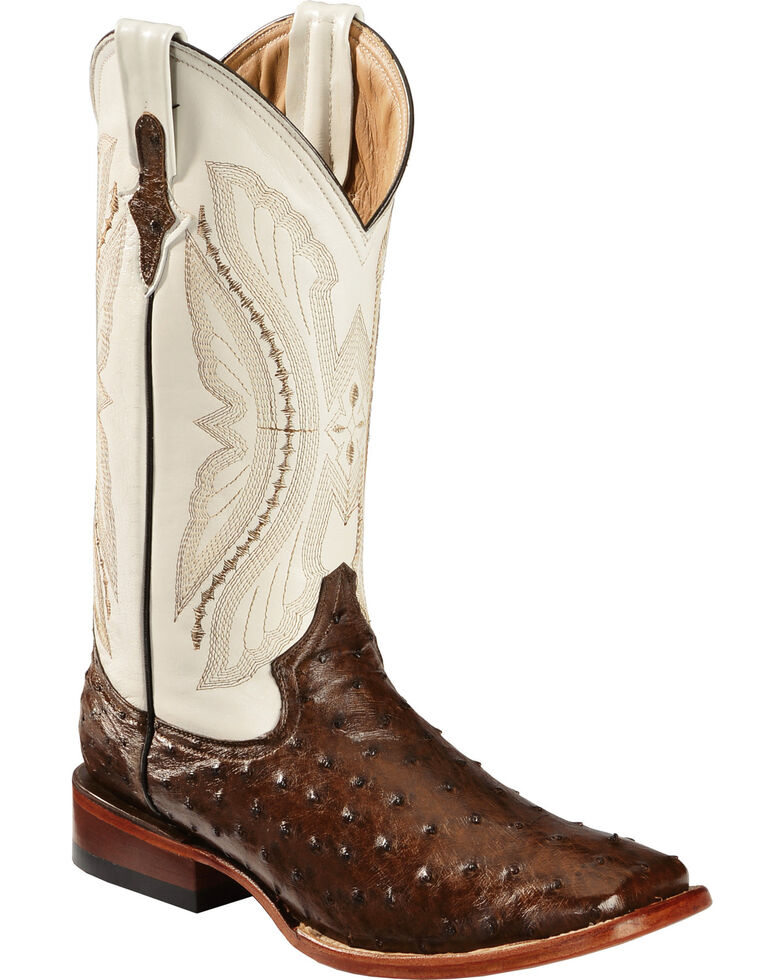 Ferrini Men's Kango Full Quill Ostrich Cowboy Boots - Wide Square Toe