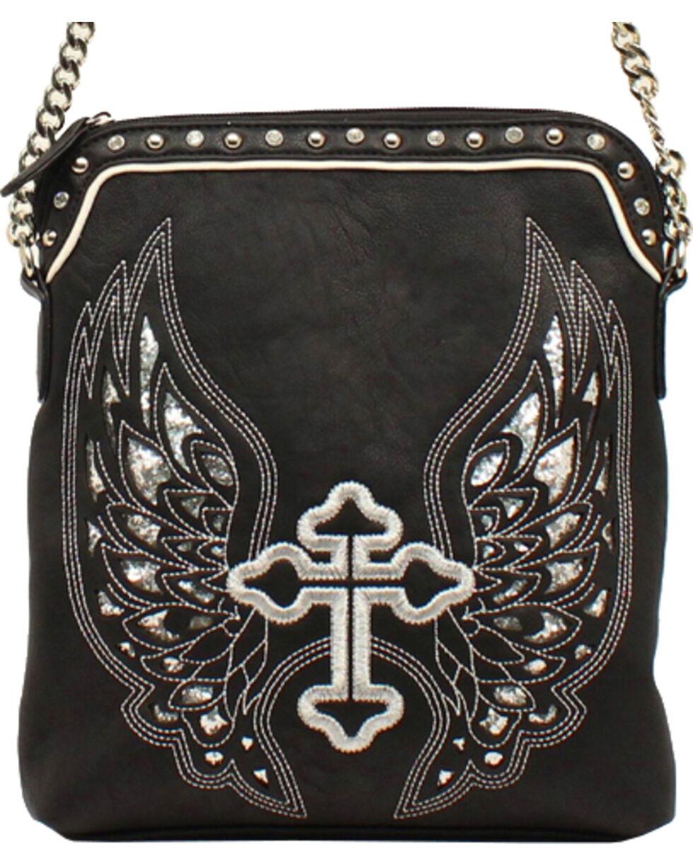 Blazin Roxx Silver Cross/Wings Messenger Bag, Black, hi-res