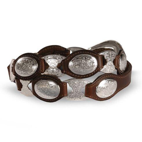 Tony Lama Concho Link Leather Belt, Brown, hi-res