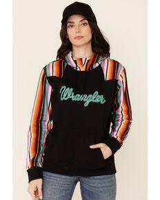 Wrangler Women's Black Contrast Serape Logo Hoodie , Black, hi-res