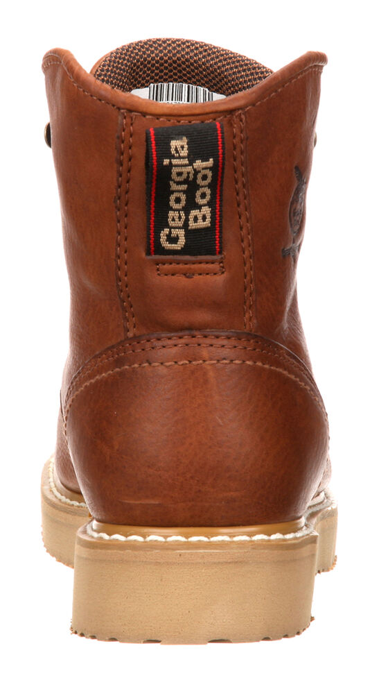 "Georgia Men's 6"" Barracuda Gold Wedge Work Boots - Steel Toe , Brown, hi-res"