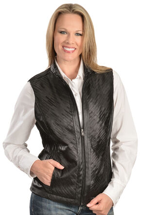 Erin London Women's Black Faux Leather Pleated Vest, Black, hi-res