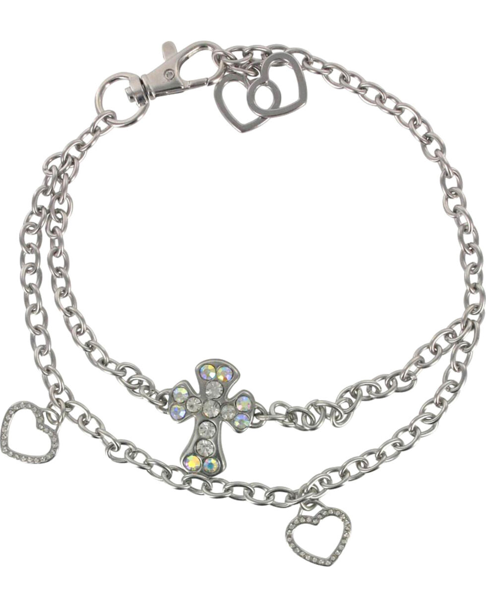 Shyanne Women's Cross and Hearts Boot Bracelet, Silver, hi-res