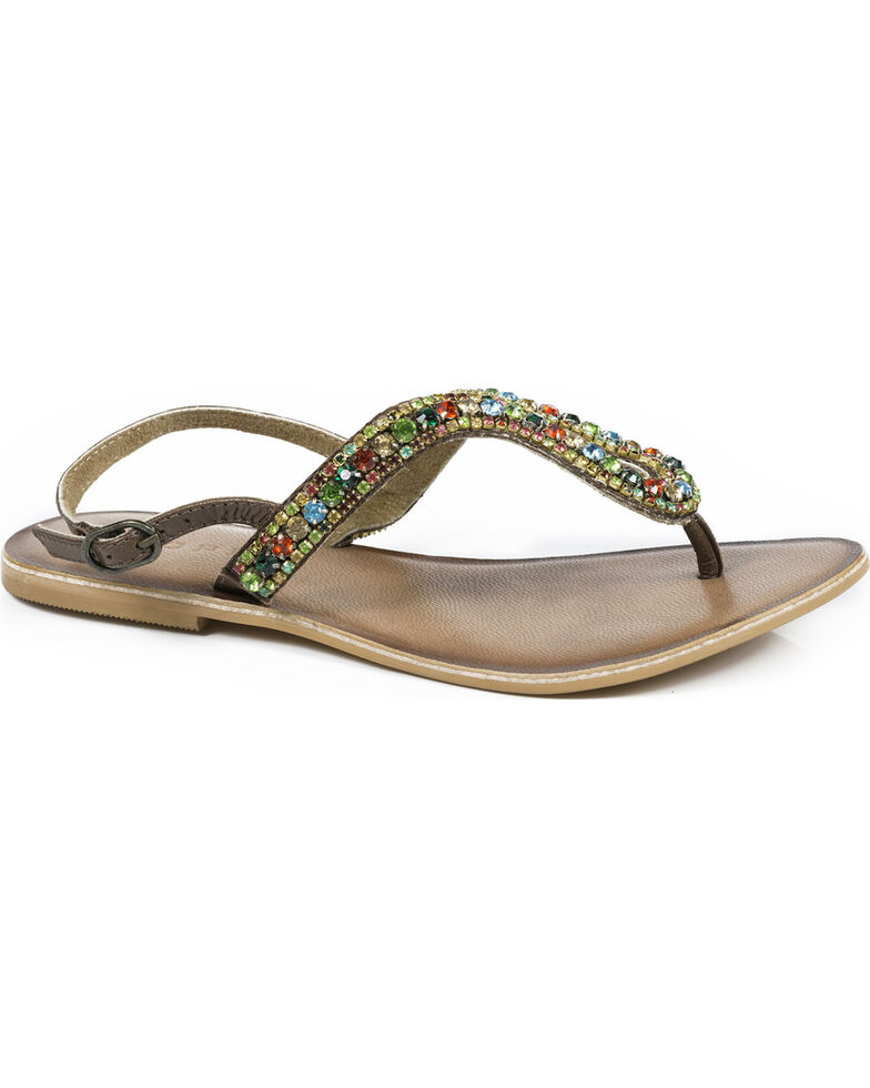 ab503839586 Roper Women s Color Crystal Leather Thong Sandals