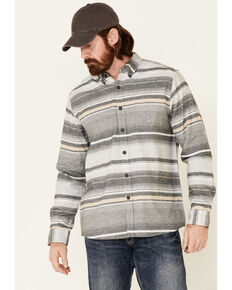 North River Men's Grey Stripe Long Sleeve Button-Down Western Flannel Shirt , Grey, hi-res