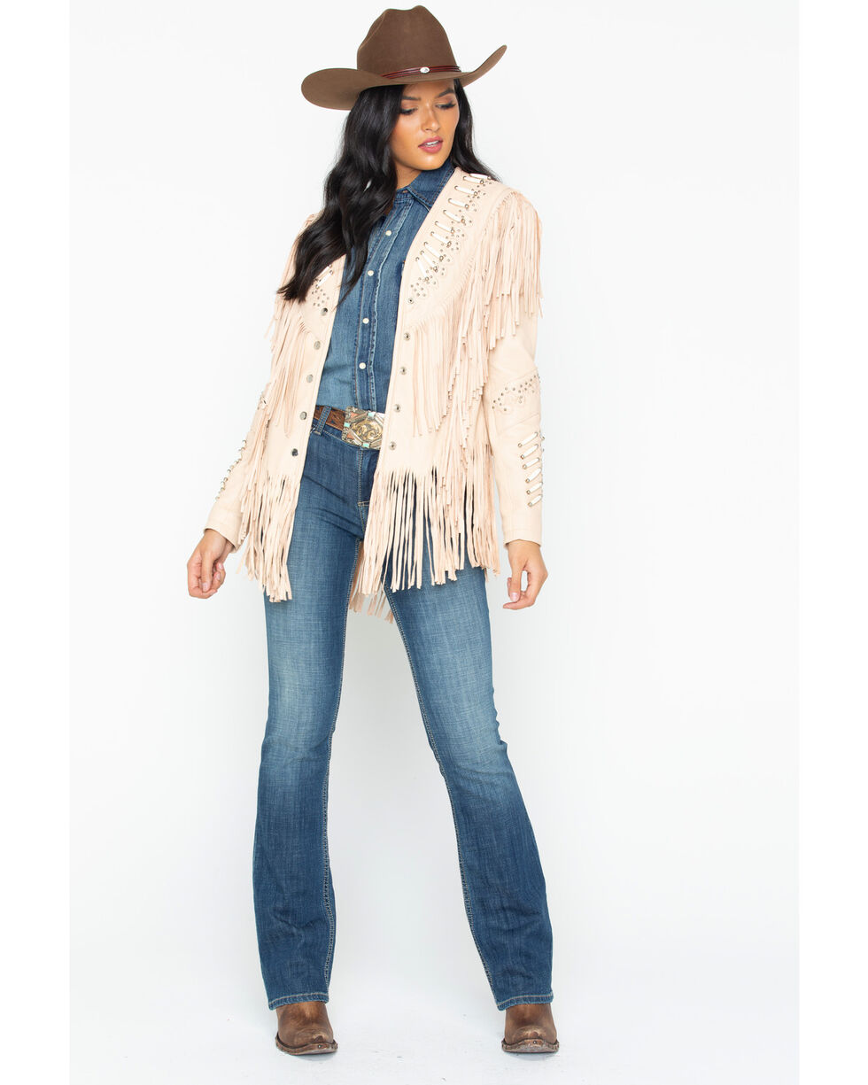 Liberty Wear Studded Fringed Leather Jacket, Cream, hi-res