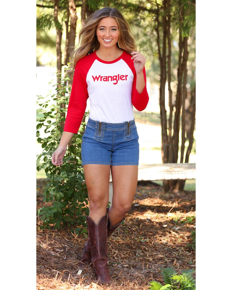 Wrangler Women's Red Logo Baseball Tee , Red, hi-res