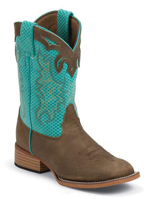 Justin Bent Rail Youth Boys' Turquoise Diamond & Brown Cowboy Boots - Square Toe, Tan, hi-res
