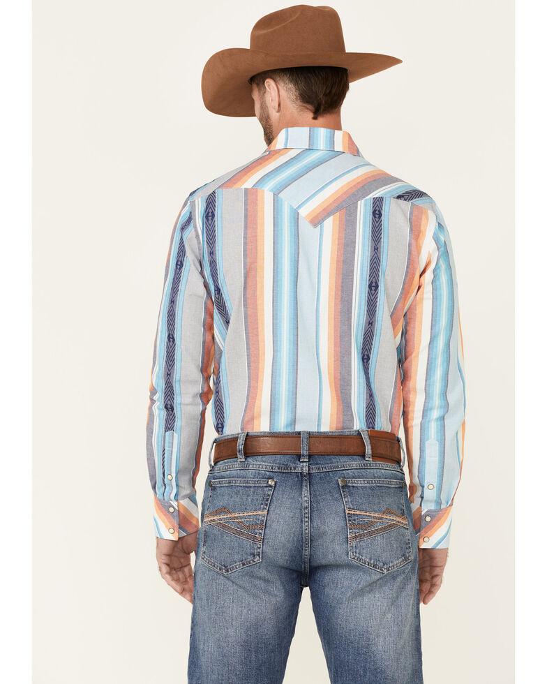 Rock & Roll Cowboy Men's Serape Dobby Stripe Long Sleeve Snap Western Shirt , Turquoise, hi-res