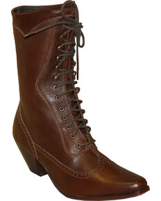"""Rawhide by Abilene Women's 8"""" Victorian Lace Up Boots - Snip Toe, Brown, hi-res"""