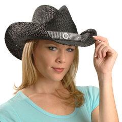 Blazin Roxx Wide Bling Hat Band Raffia Straw Cowgirl Hat, Black, hi-res