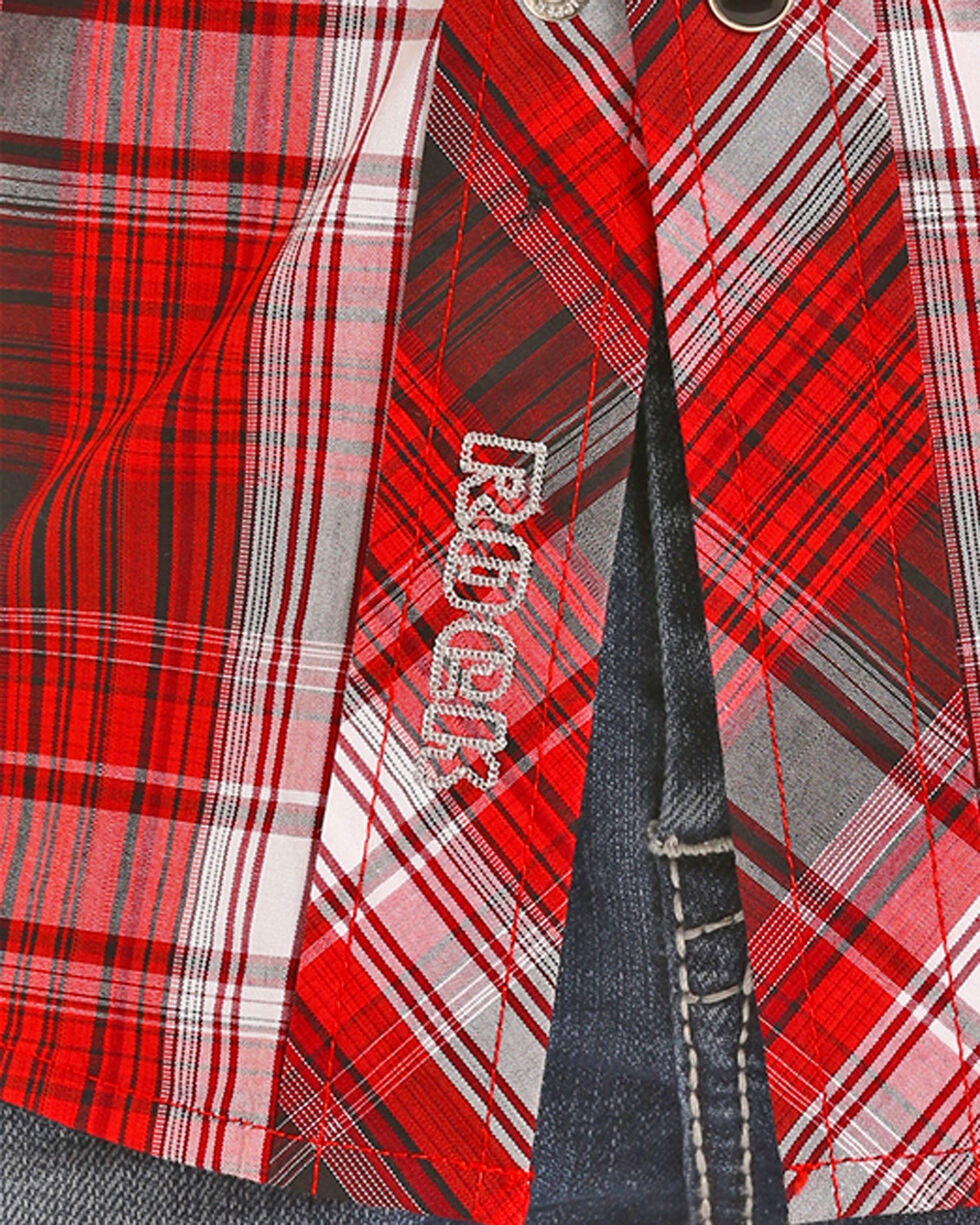 Rock & Roll Cowboy Boys' Red Yarndye Plaid Snap Shirt , Red, hi-res