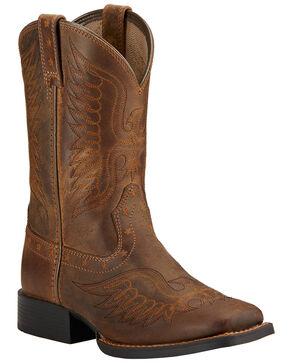 ARIAT Kids Relentless Brown Tan  Elite Square Toe Western Boots 10021597 NIB