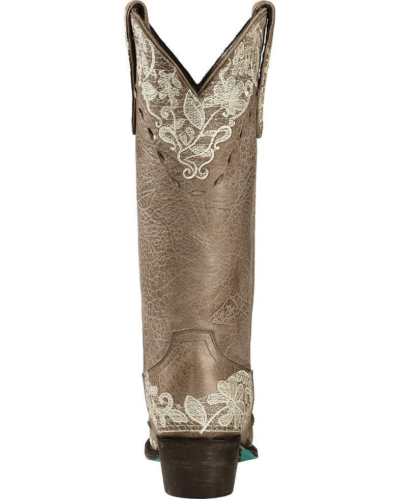 Lane Jeni Lace Embroidered Cowgirl Boots - Snip Toe, Brown, hi-res