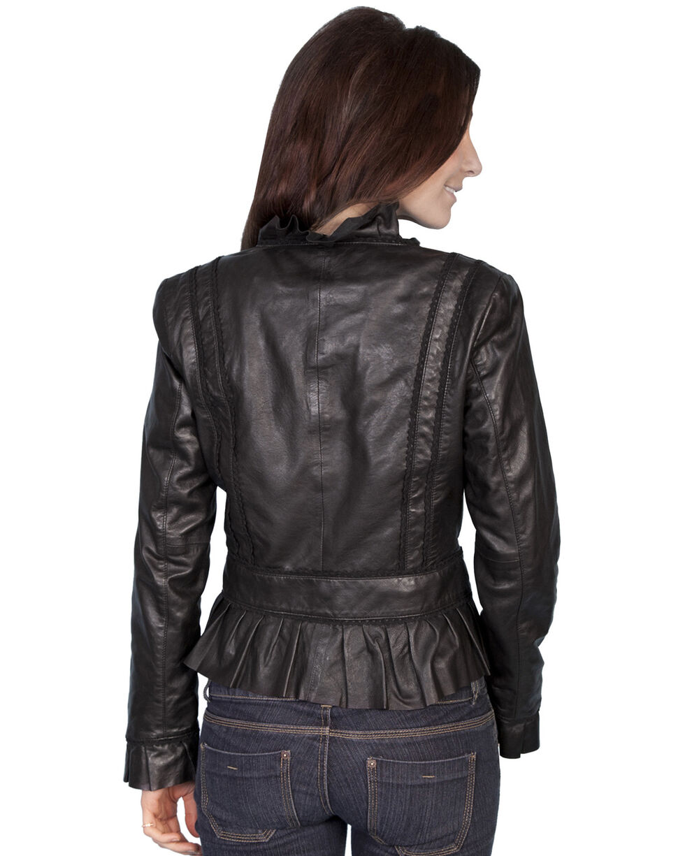 Scully Ruffle Trimmed Lambskin Jacket, Black, hi-res