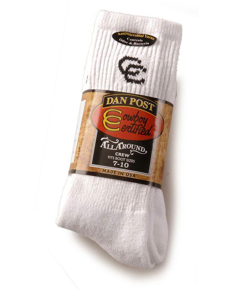 Dan Post Men's Cowboy Certified Crew Socks (2-Pack) - Sizes 10.5 - 13, White, hi-res