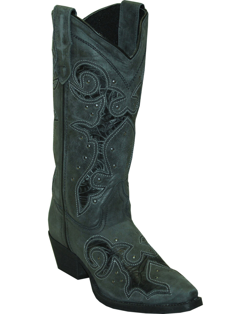 Rawhide by Abilene Women's Cutout and Nailheads Western Boots - Snip Toe, Black, hi-res