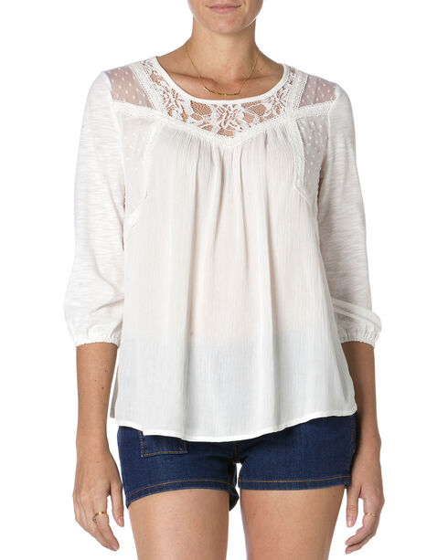 MIss Me Mix-Match Lace 3/4 Sleeve Top, Off White, hi-res