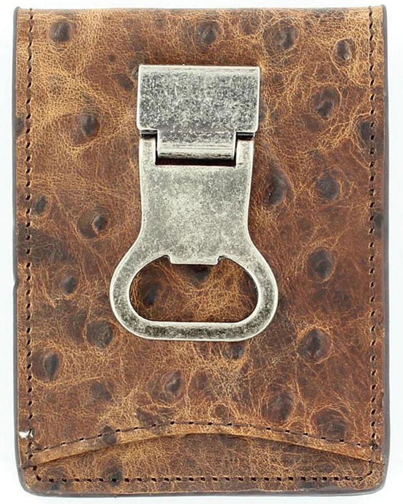 Nocona Ostrich Print Money Clip Bi-Fold Wallet, Brown, hi-res