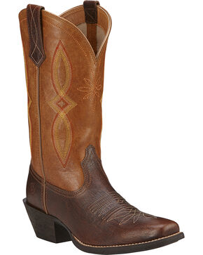 Ariat Round Up II Cowgirl Boots - Square Toe, Acorn, hi-res
