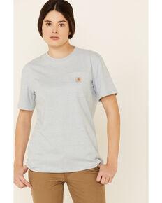 Carhartt Women's Light Blue Pocket Short Sleeve Work T-Shirt , Light Blue, hi-res