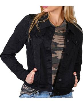 Boom Boom Jeans Women's Classic Black Denim Jacket, Black, hi-res