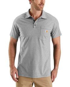 Carhartt Men's Grey Force Cotton Pocket Polo Work Shirt - Big , Grey, hi-res
