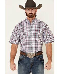 Ariat Men's Tayson Small Plaid Short Sleeve Western Shirt , White, hi-res