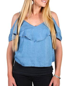 Shyanne Women's Denim Off The Shoulder Top , Blue, hi-res
