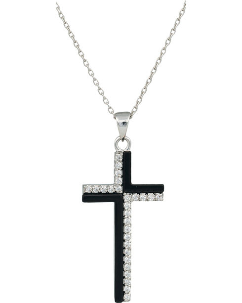Montana Silversmiths Black and White Cross Necklace, Silver, hi-res
