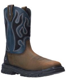 Wolverine Men's Blue Ranch King Western Work Boots - Soft Toe, Brown, hi-res