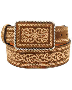 Nocona Men's Tapered Plate Western Belt, Brown, hi-res