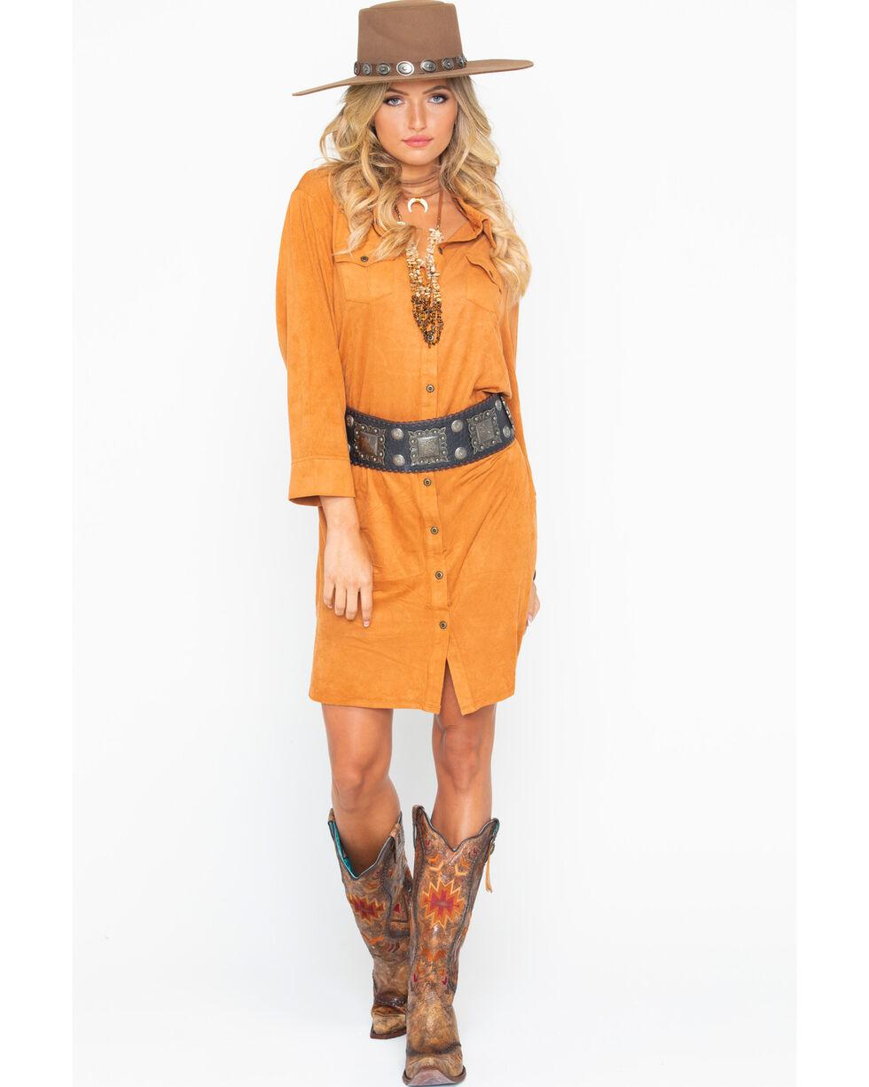 Wrangler Women's Tan Faux Suede Shirt Dress , , hi-res