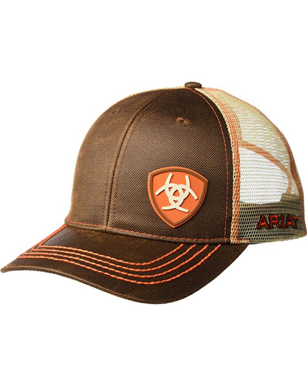 a47f316ea3ed6 ... australia ariat mens brown oilskin shield logo baseball cap brown hi  res f6b0f dcdc3