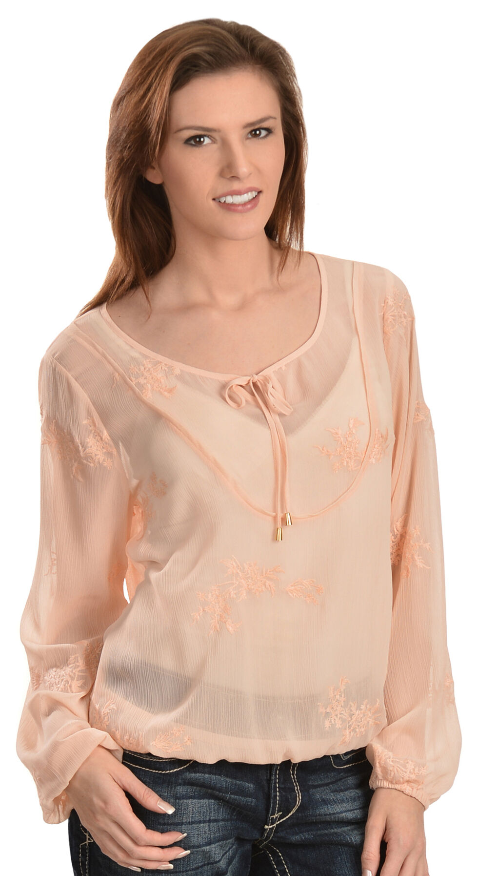 Ariat Alva Embroidered Chiffon Top, Natural, hi-res