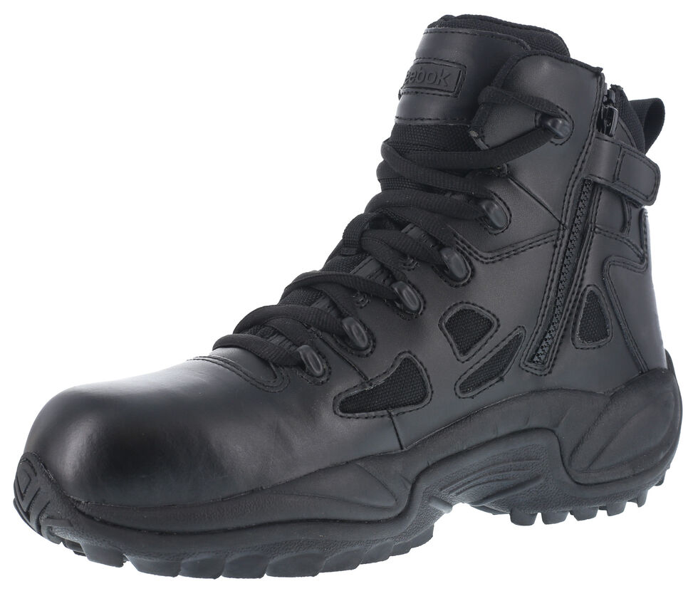 "Reebok Women's Stealth 6"" Lace-Up Side Zip Work Boots - Composite Toe, Black, hi-res"