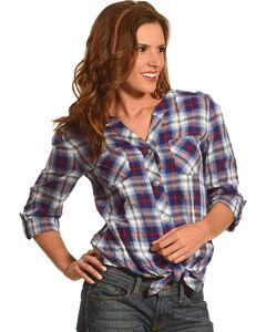 Ruby Rd. Women's Boyfriend Tie Front Plaid Shirt, Navy, hi-res