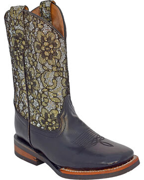Ferrini Girls' Cowhide Silver Western Boots - Square Toe, Multi, hi-res