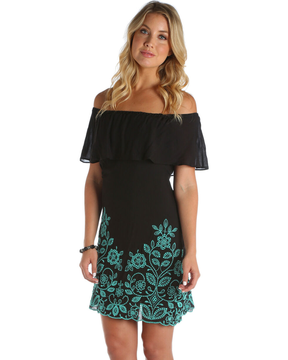 Wrangler Women's Black Embroidered Hem Dress , Black, hi-res