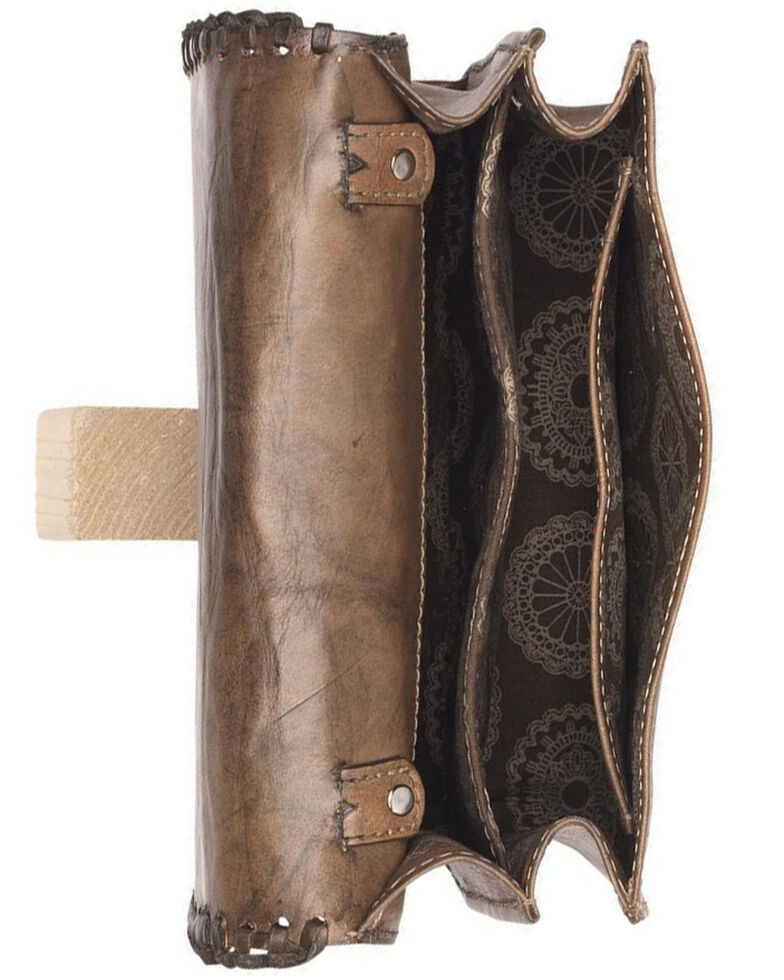 American West Women's Freedom Feather Shoulder Bag, Brown, hi-res