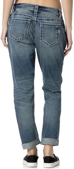 Miss Me Women's Rip Repair Boyfriend Fit Ankle Jeans , Indigo, hi-res