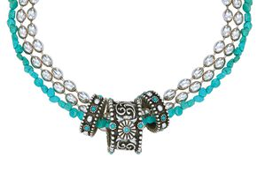 Montana Silversmiths Triple Strand Turquoise Passion Flower Necklace, Silver, hi-res