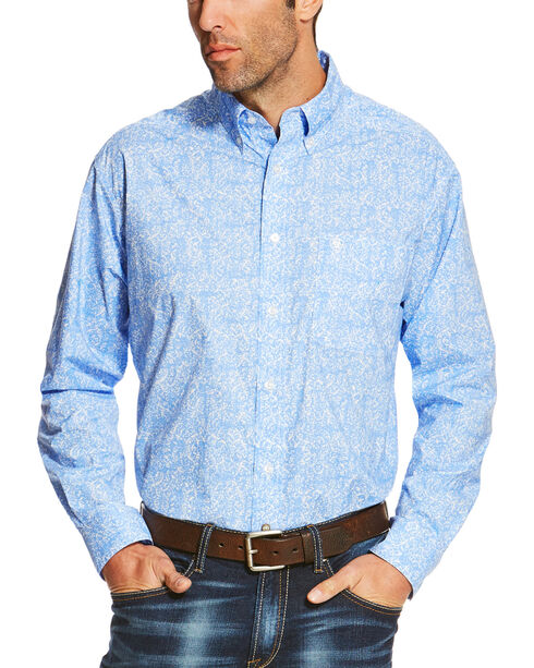 Ariat Men's Blue Orodell Print Long Sleeve Western Shirt , Blue, hi-res