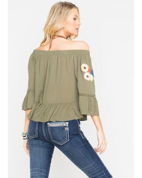 Miss Me Women's Olive Embroidered Off The Shoulder Peasant Top, Olive, hi-res