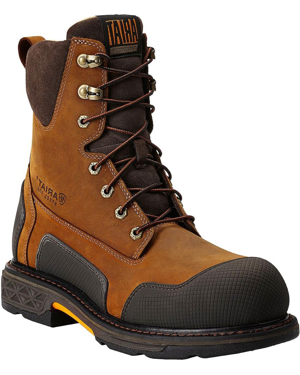 "Ariat Overdrive XTR 8"" Lace-Up Side Zipper Work Boots - Steel Toe, Aged Bark, hi-res"