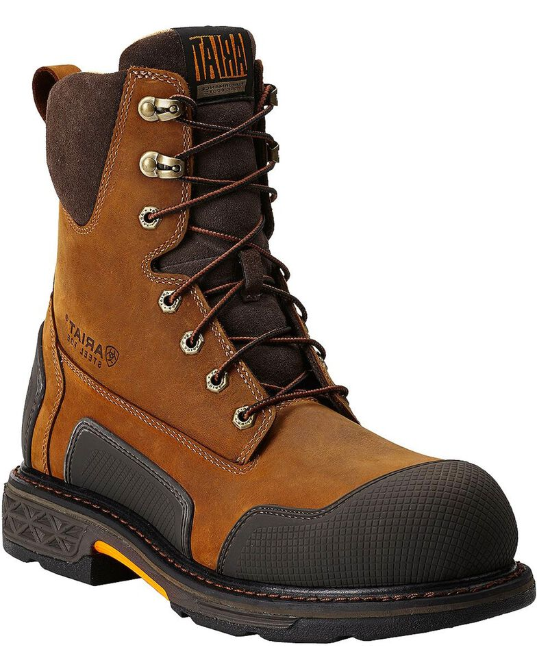 """Ariat Overdrive XTR 8"""" Lace-Up Side Zipper Work Boots - Steel Toe, Aged Bark, hi-res"""